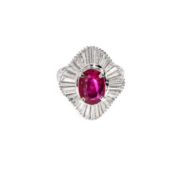 Platinum 900 Gem Stone Ring D2-005