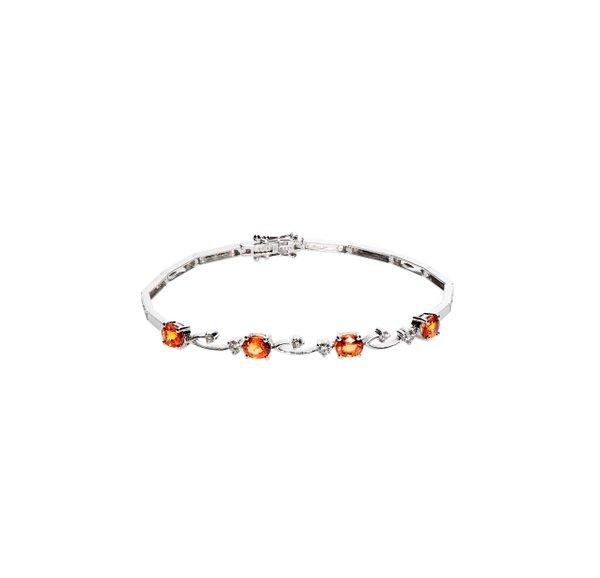 750 White Gold Gem Stone Bracelet D2-021