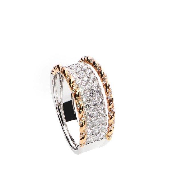 750 Rose/White Gold Diamond Ring D3-002