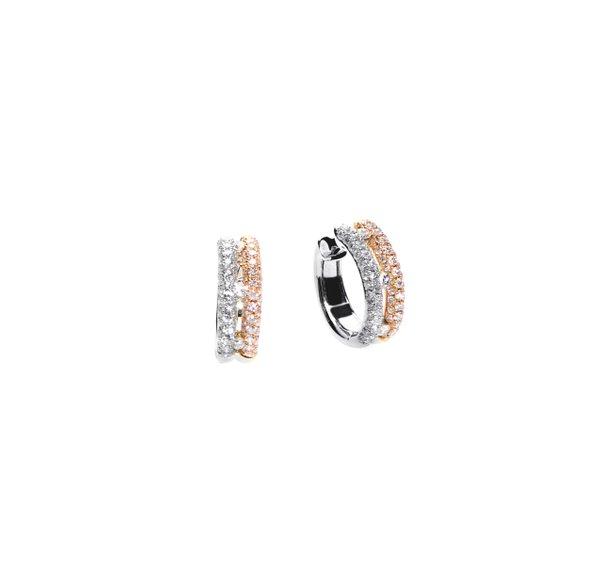 750 Rose/ White Gold Diamond Earring D3-013