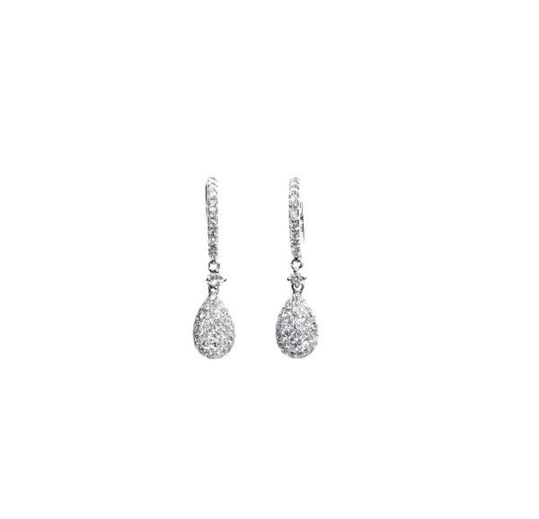 750 White Gold Diamond Earring D3-015