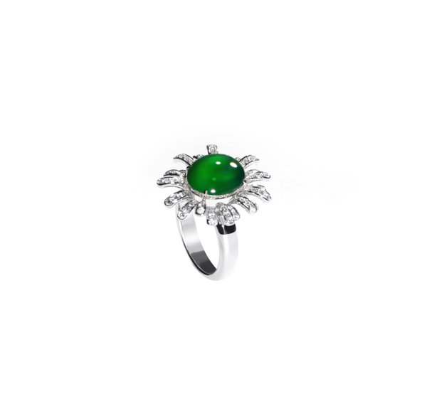 750 White Gold Jade Ring D3-024