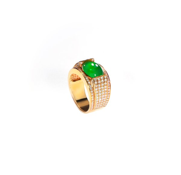 750 Rose Gold Jade Ring D3-025