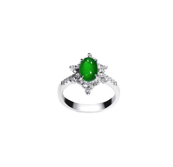 750 White Gold Jade Ring D3-028