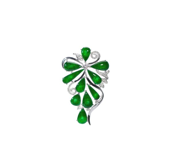 750 White Gold  Jade Brooch and Pendant 3JG00002