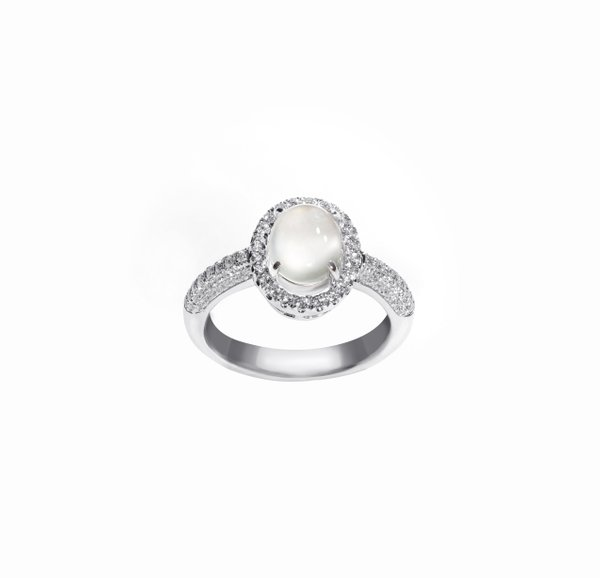 750 White Gold Icy Jade Ring D3-031