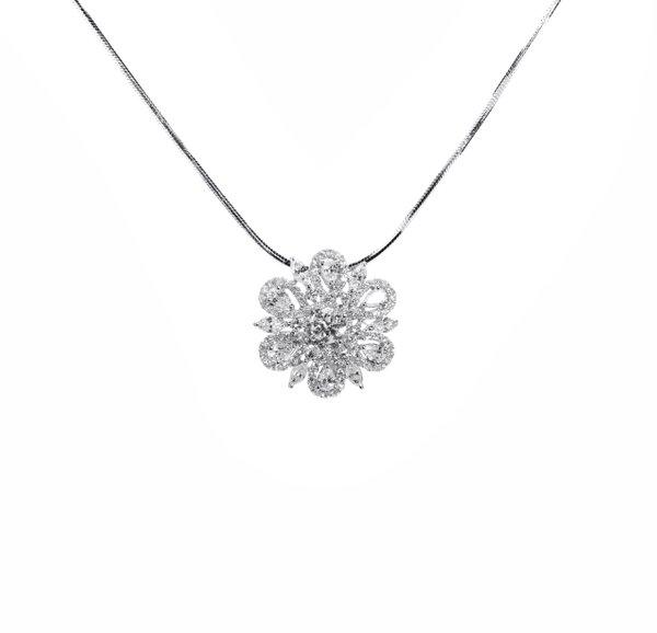 750 White Gold Diamond Pendant 3DP00103