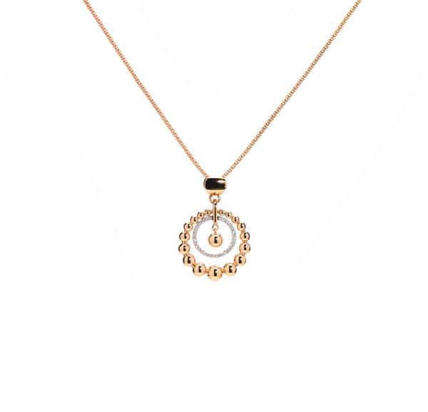 750 Rose/ White Gold Diamond Pendant 3DP00308