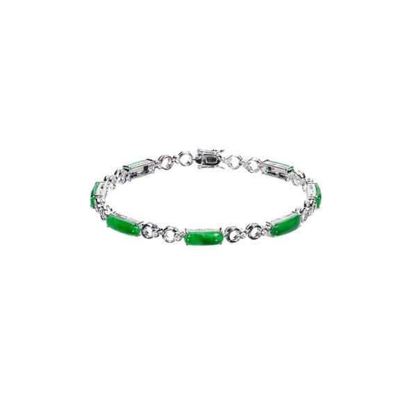 750 White Gold Jade Bracelet 3JC00043
