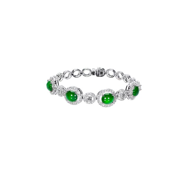 750 White Gold Jade Bracelet 3JC00011