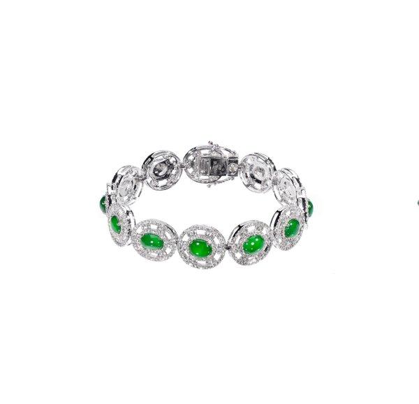 750 White Gold Jade Bracelet D4-003