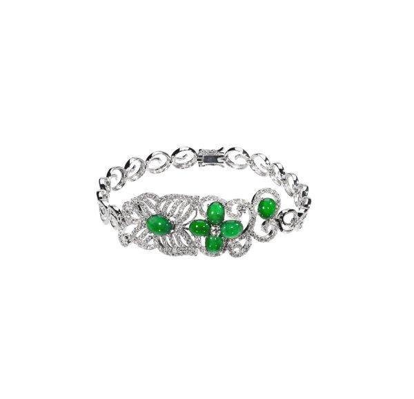 750 White Gold Jade Bracelet 3JC00025