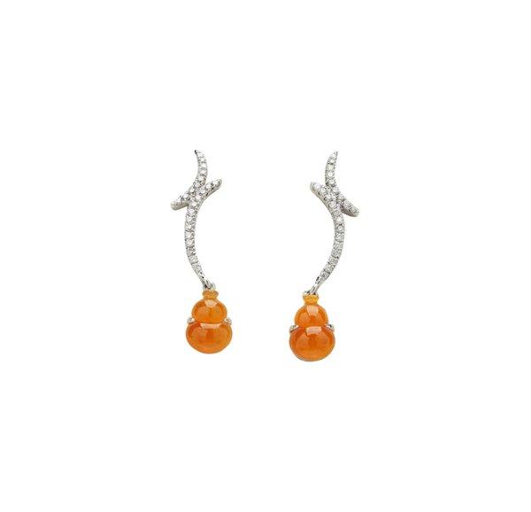750 White Gold Honey Jade Earring