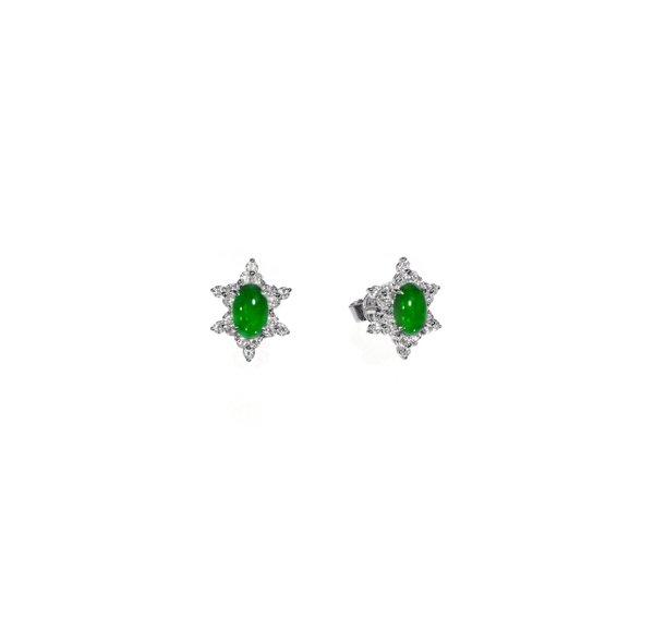750 White Gold Jade Earring 3JE00075