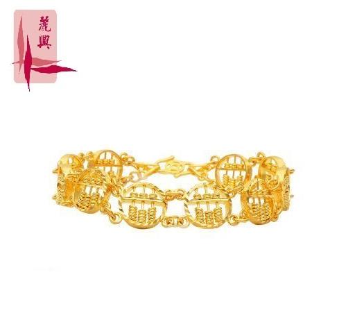 916 Gold Round Abacus Bracelet
