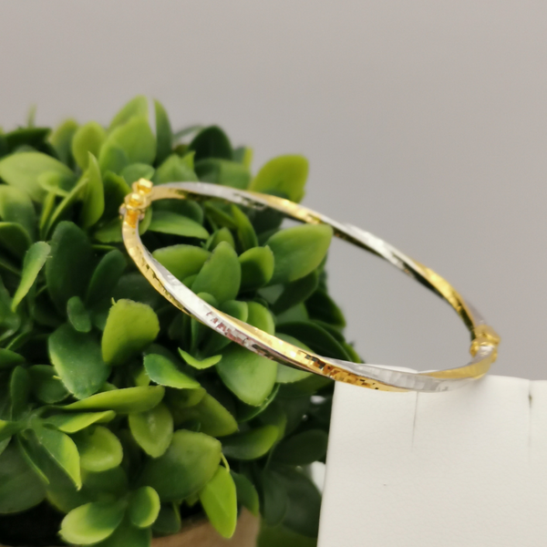 916 Gold Two Tone Twisted Bangle