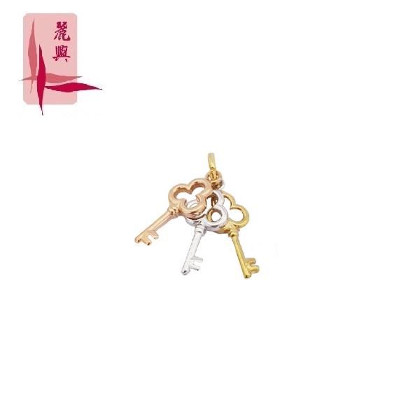 916 Gold 3 Tone Key Pendant