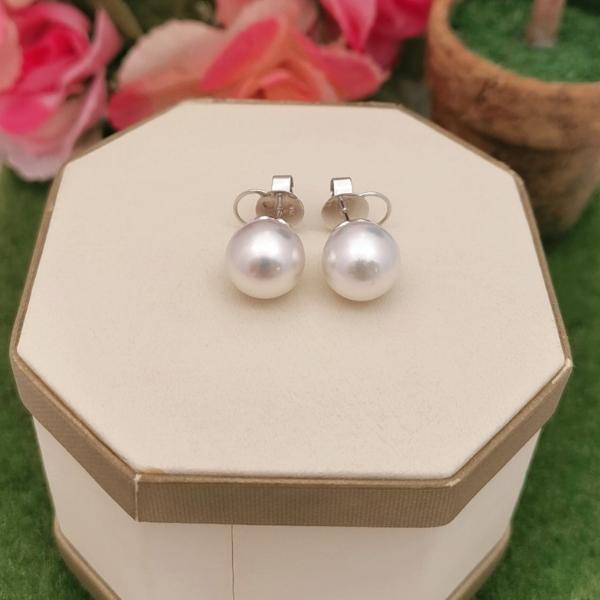 18K White Gold  Pearl Ear Studs 3ME00173