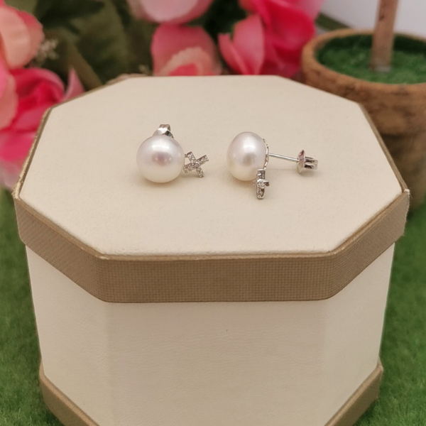 14K White Gold Pearl With Diamond Ear Studs 3ME00215