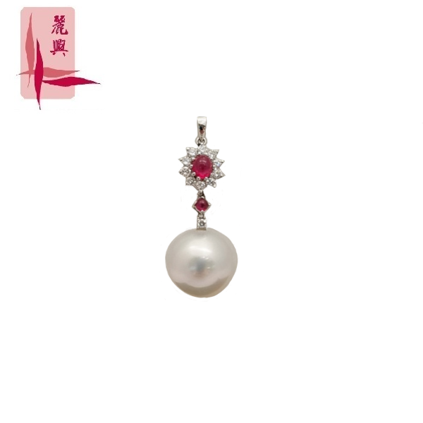 18K White Gold Pearl And Ruby With Diamond 3MP00214