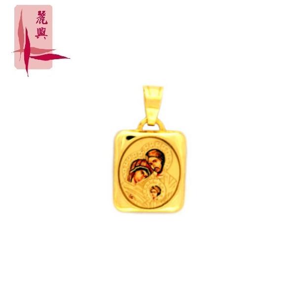 18K Yellow Gold Colorful Virgin Jesus Pendant 3YM01283