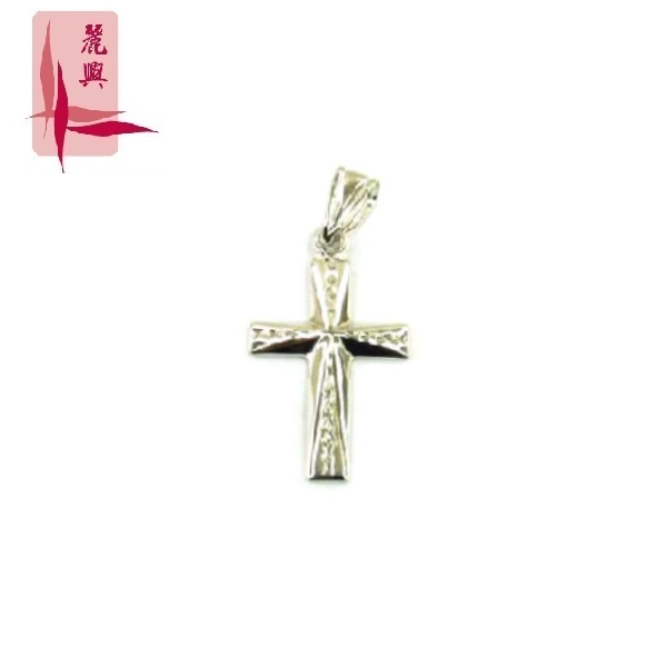 18K White Gold Cross Pendant 3YM01973