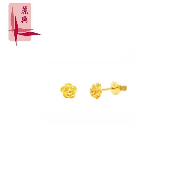 916 Gold Rose Flower Ear Studs