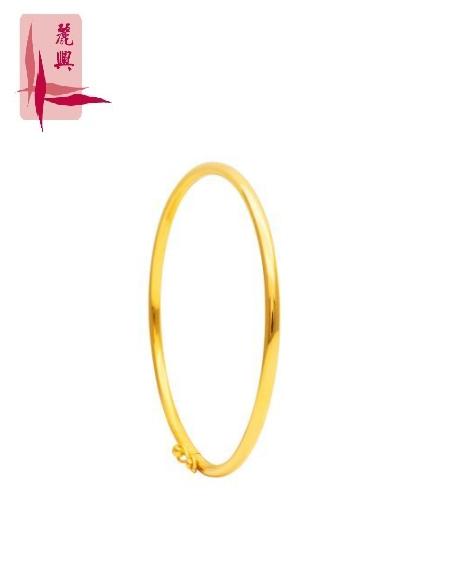 916 Gold Round Plain Bangle ( Thin ) 4mm