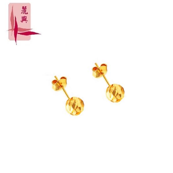 916 Gold Textured Round Ear Studs