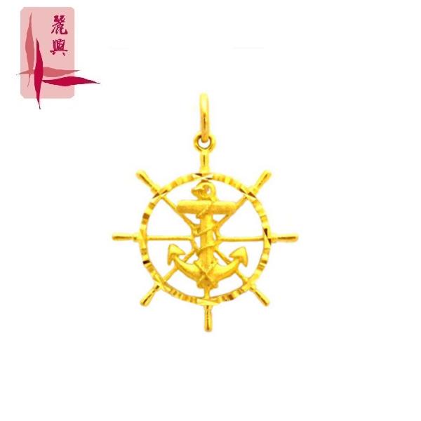 916 Gold Round Anchor Pendant