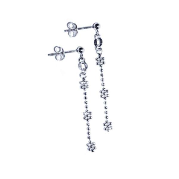 EITA Collection 917 White Gold Three Plum Dangling Earring K-44