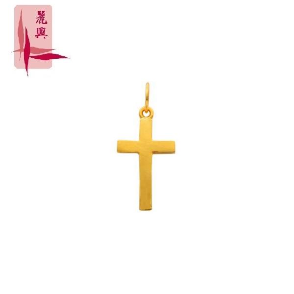 916 Gold Flat Plain Cross Pendant