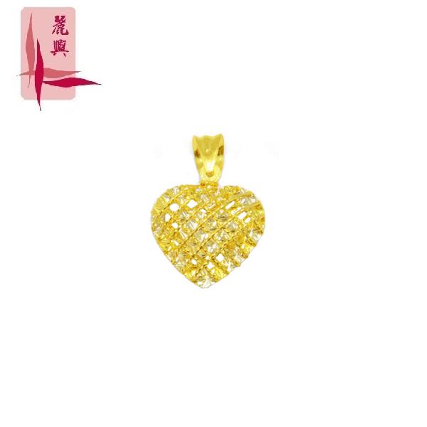 916 Gold Spider Web Heart Pendant