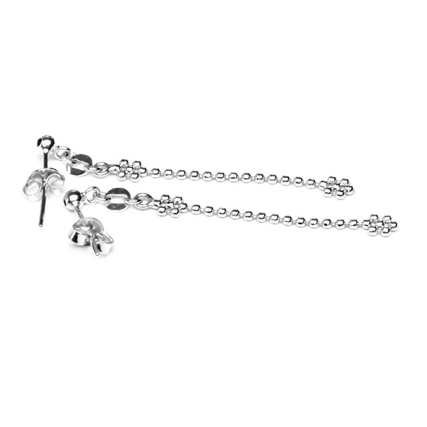 EITA Collection 917 White Gold Two Plum Dangling  Earring K-44