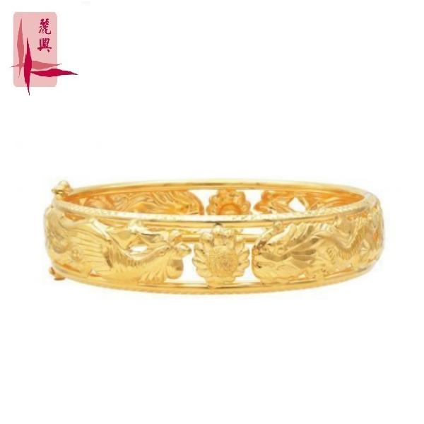 916 Gold Dragon Phoenix Bangle