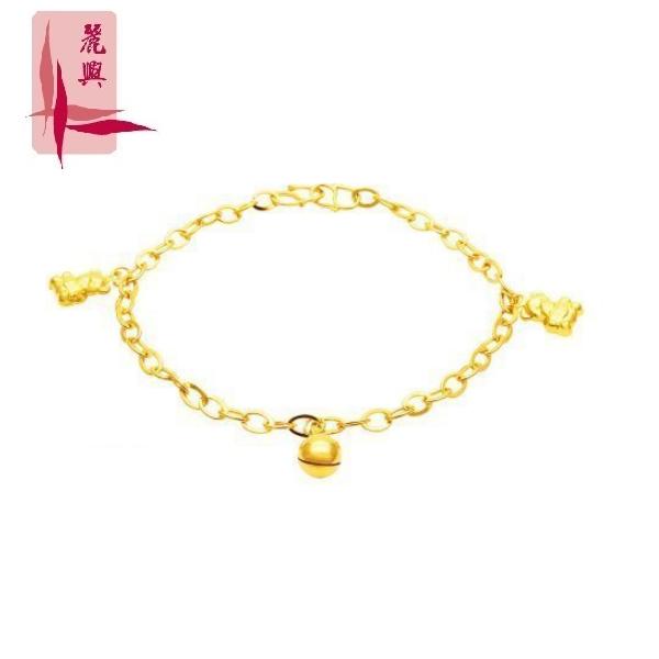 916 Gold 3 Charm Child Anklet (Bear,Bell,Bear  )