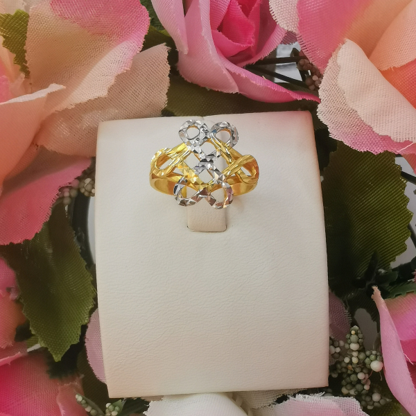 916 Gold Two Tone Wishful Knot Ring